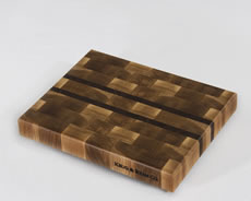"White Oak with Think Black Walnut Stripes shown in 9""×13"""